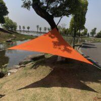 ציליה כתומה בצורת משולש מתוחה בין עצים