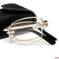משקפי ראייה בצבע זהב מקופלות עם נרתיק תואם
